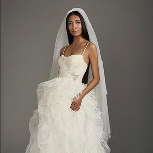 White by Vera Wang walking length veil  raw edge.